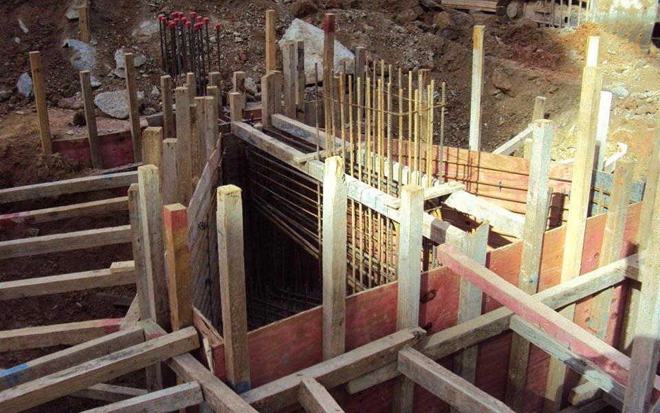 Detalhe dos blocos de fundações