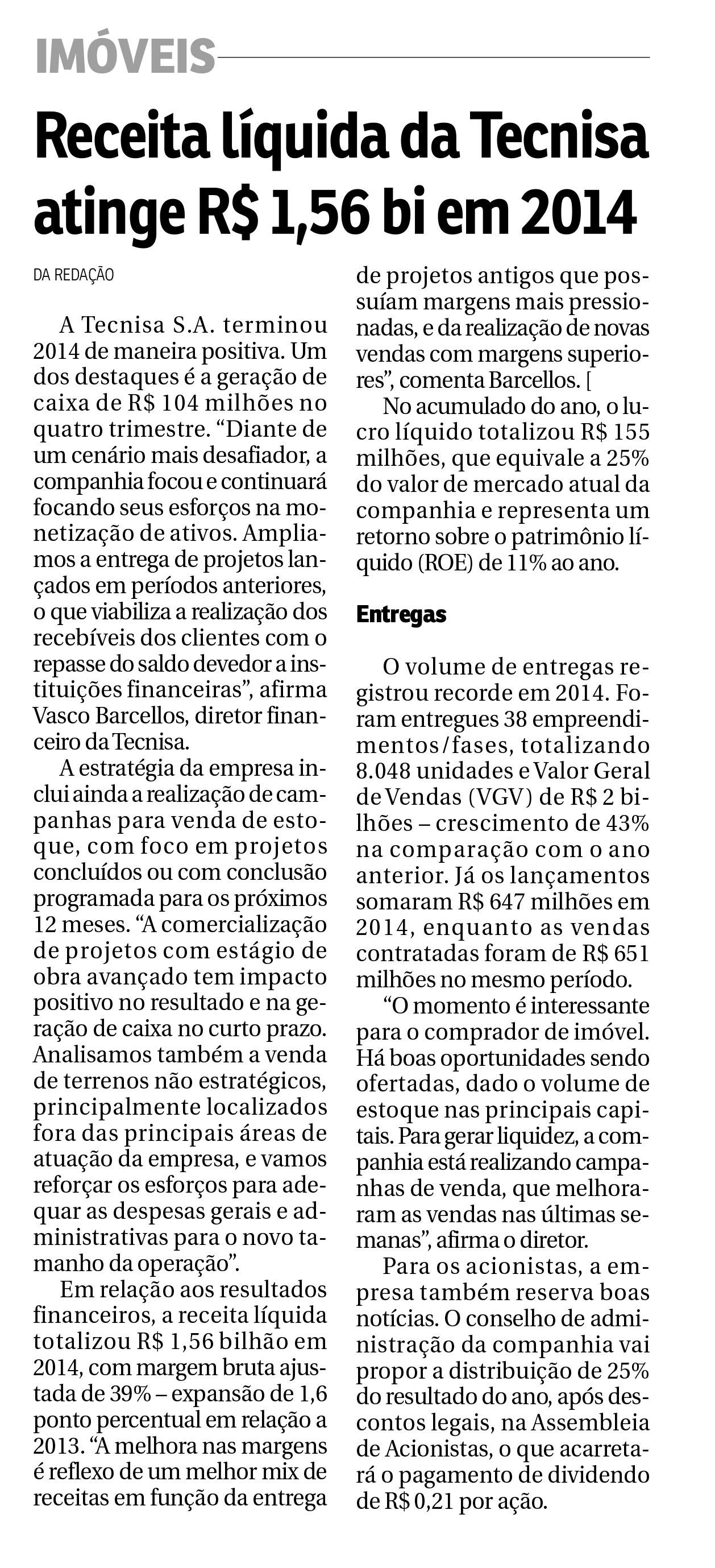 Receita líquida da Tecnisa atinge R$ 1,56 bi em 2014