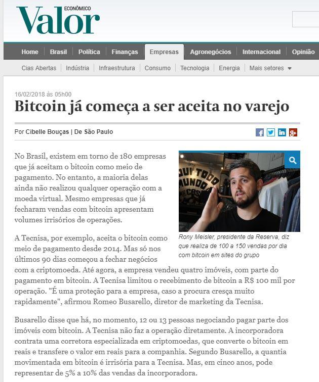 Bitcoin já começa a ser aceita no varejo