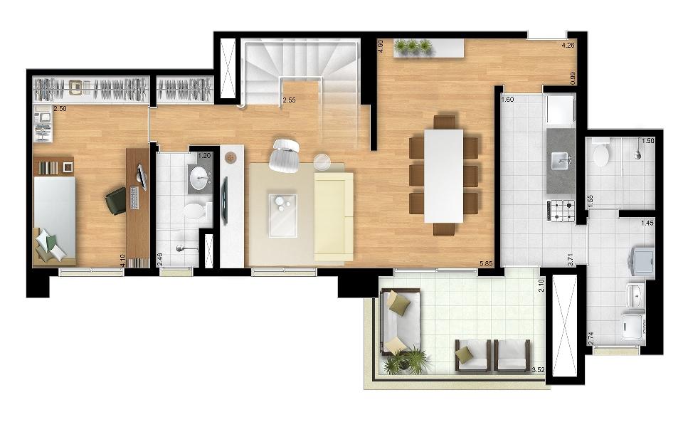 151m² - Duplex Inferior - Final 6 Torres Araucária e Dália