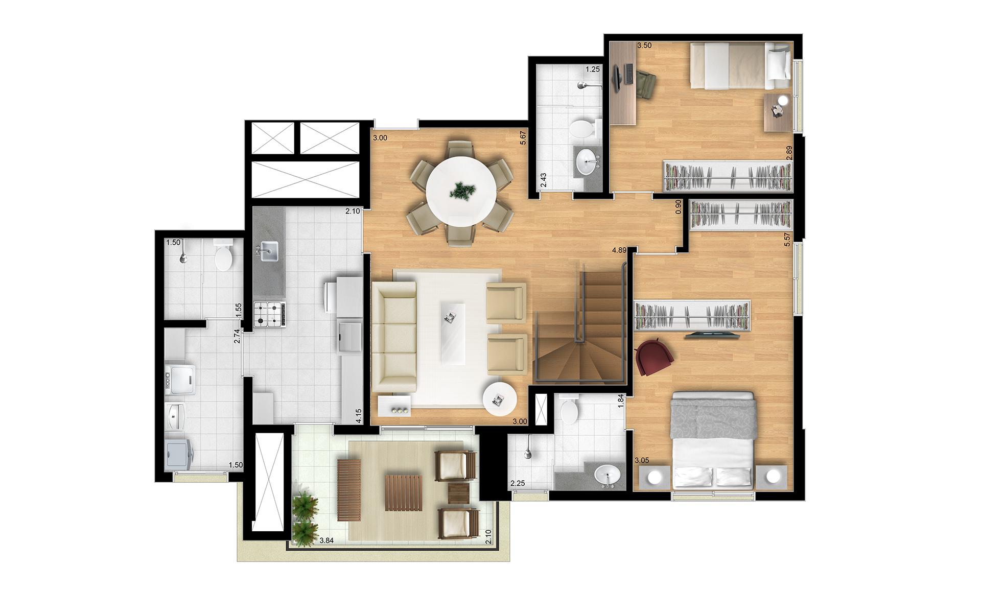 196m² - Duplex Inferior - Final 8 Torres Araucária e Dália