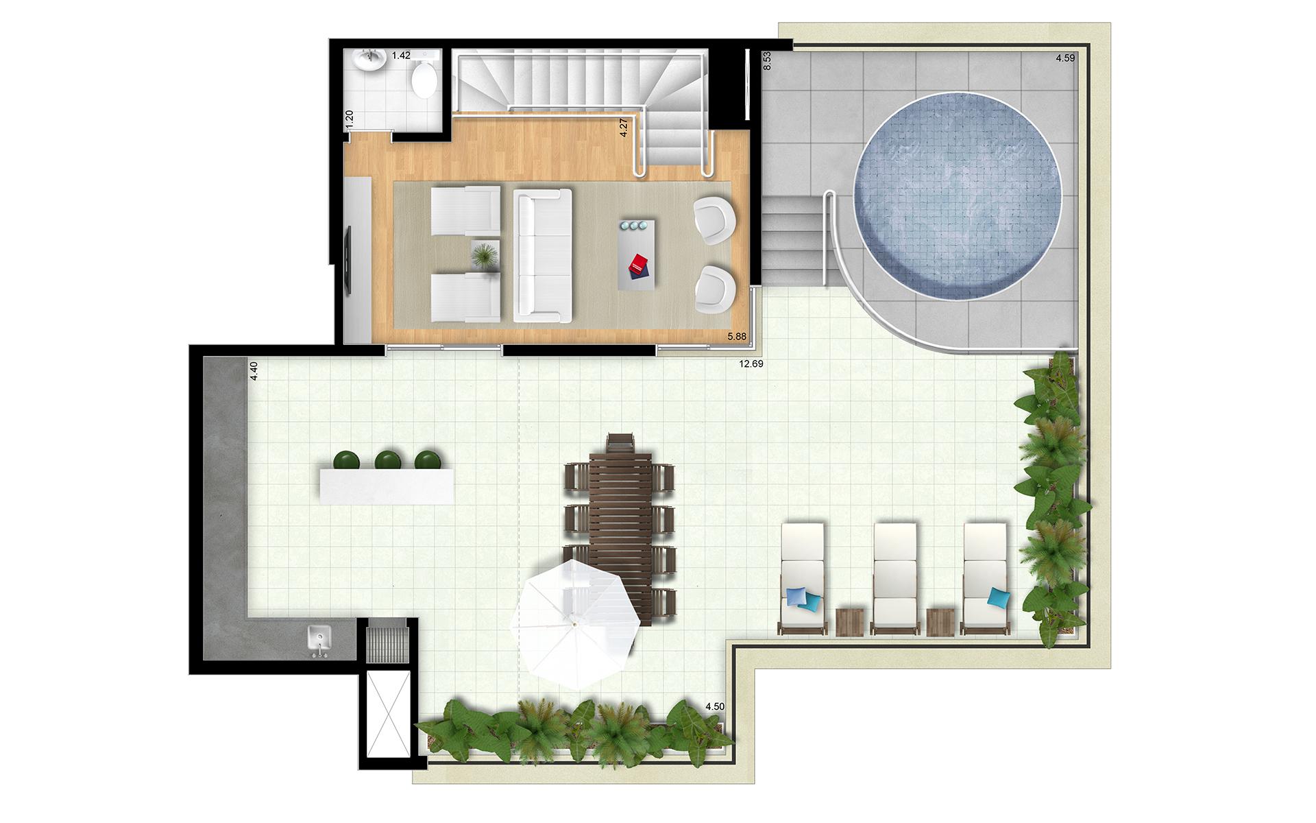 239m² - Duplex Superior - Final 2 Torres Araucária e Dália