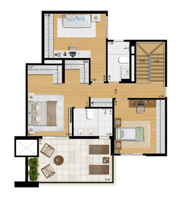 3 dorms piso superior