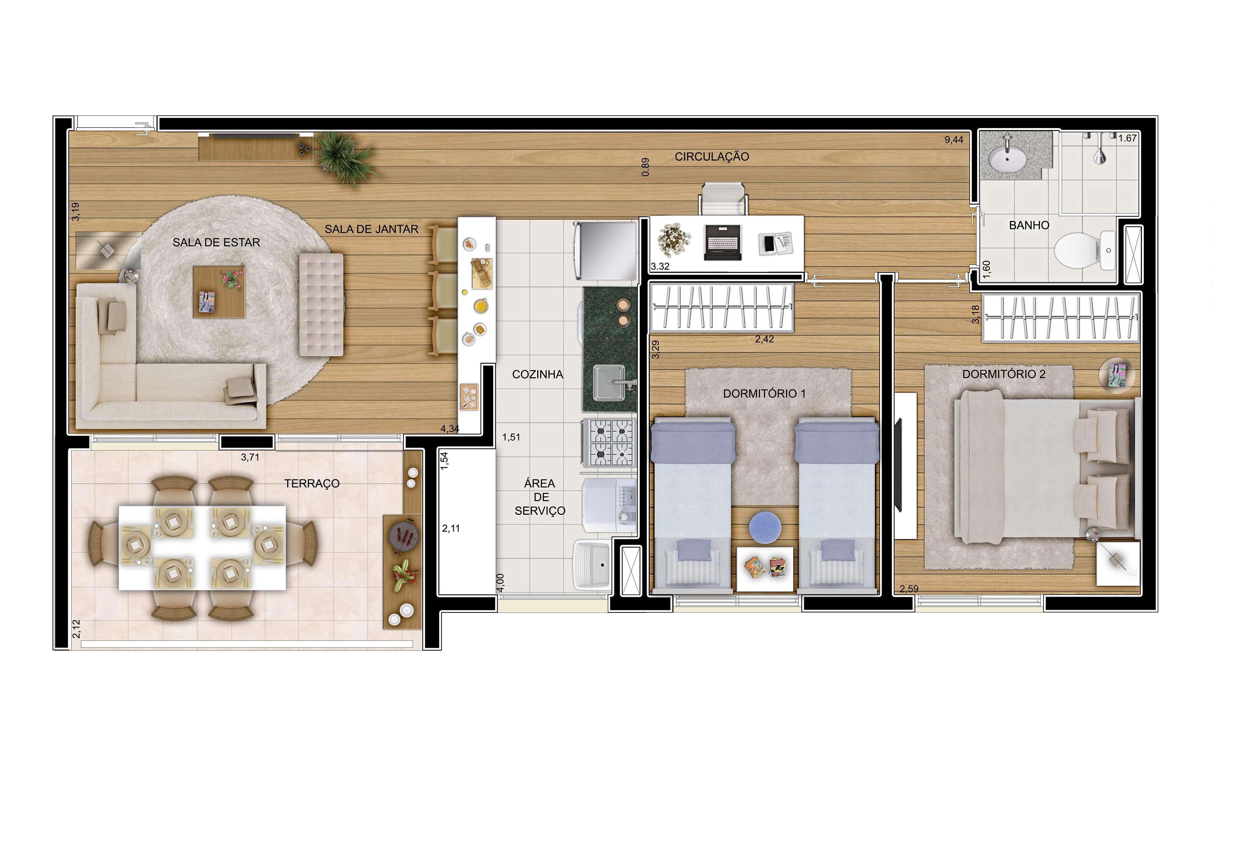 62 m² - 2 dorms