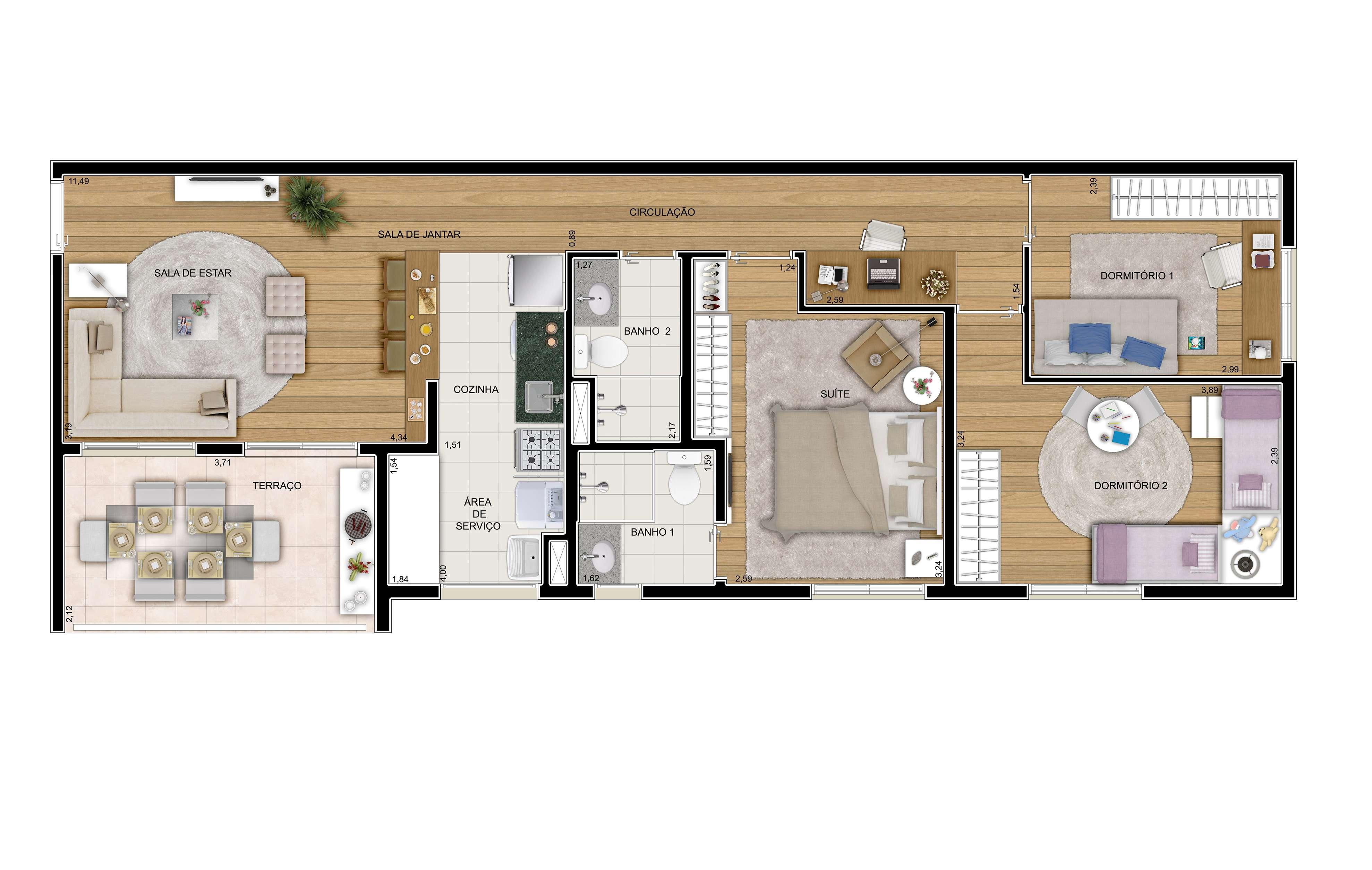 78 m² - 3 dorms