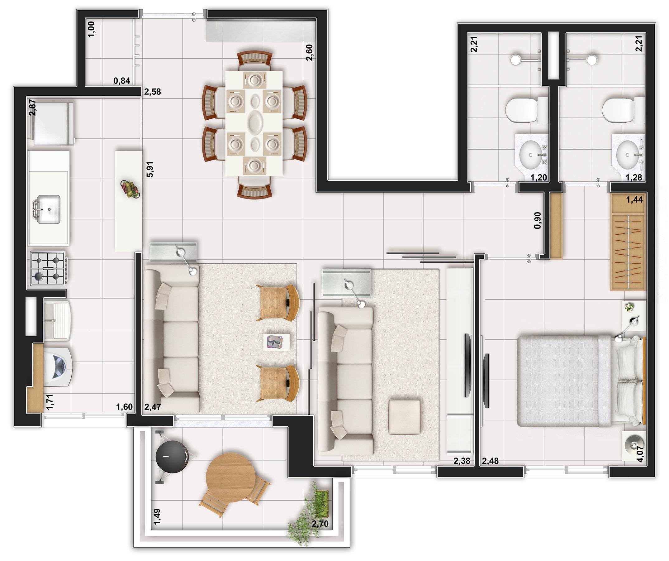 62m² - apto com Home Theater