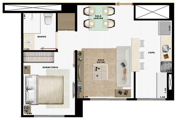 36,55m² 1 dorm cozinha