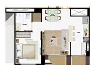 36,55m² 1 dorm cozinha - Art Life Acqua Village - Tecnisa