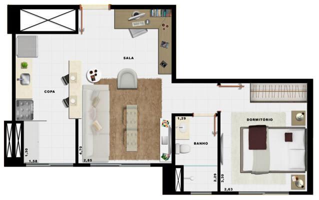 37,21m² 1 dorm cozinha