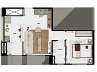 37,21m² 1 dorm cozinha - Art Life Acqua Village - Tecnisa