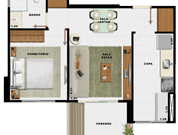 44,71m² 1 dorm - Art Life Acqua Village - Tecnisa