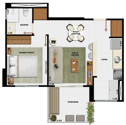 44,71m² 1 dorm cozinha