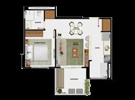 44,71m² 1 dorm cozinha - Art Life Acqua Village - Tecnisa