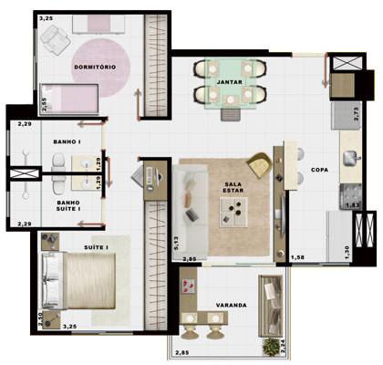 60,27m² 2 dorms cozinha
