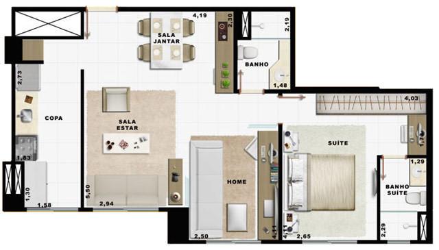 60,49m² 1 dorm living