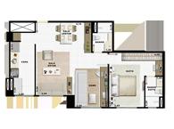 60,49m² 1 dorm living - Art Life Acqua Village - Tecnisa