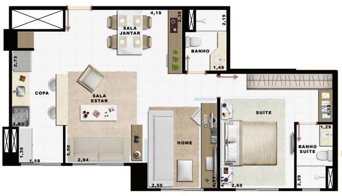 60,49m² 1 dorm living e cozinha