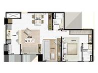 60,49m² 1 dorm living e cozinha - Art Life Acqua Village - Tecnisa