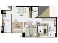 60,49m² 2 dorms - Art Life Acqua Village - Tecnisa