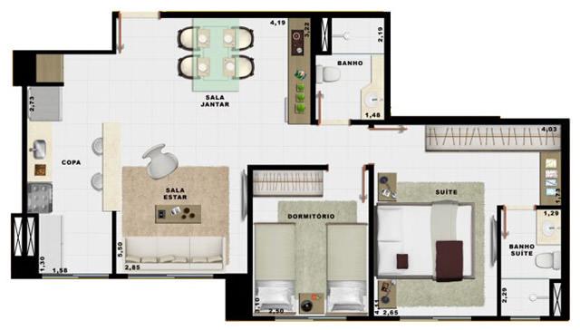 60,49m² 2 dorms cozinha
