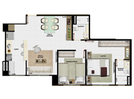 60,49m² 2 dorms cozinha - Art Life Acqua Village - Tecnisa
