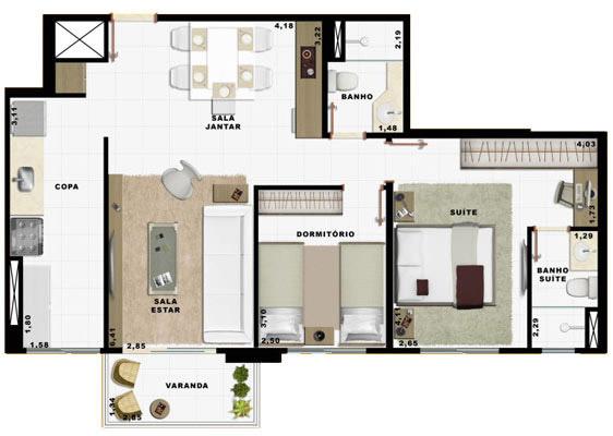 69,26m² 2 dorms