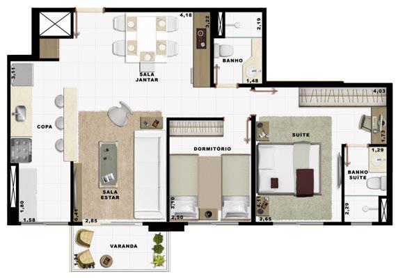 69,26m² 2 dorms cozinha
