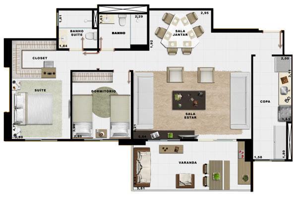 90,70m² 2 dorms living