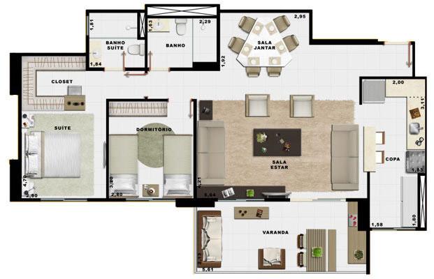 90,70m² 2 dorms living e cozinha