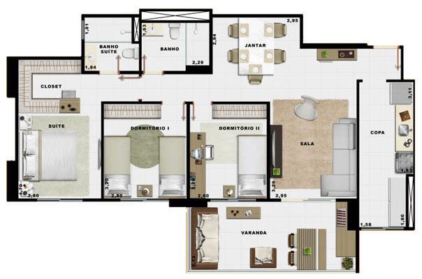 90,70m² 3 dorms