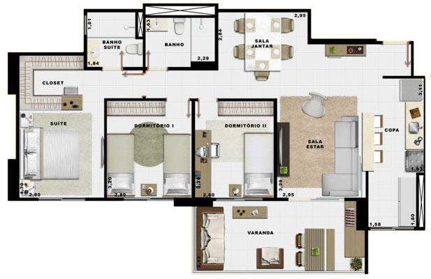 90,70m² 3 dorms cozinha