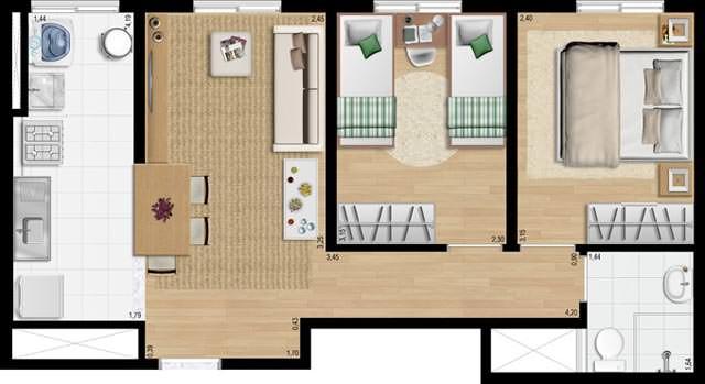 43,91 m² 2 dorms