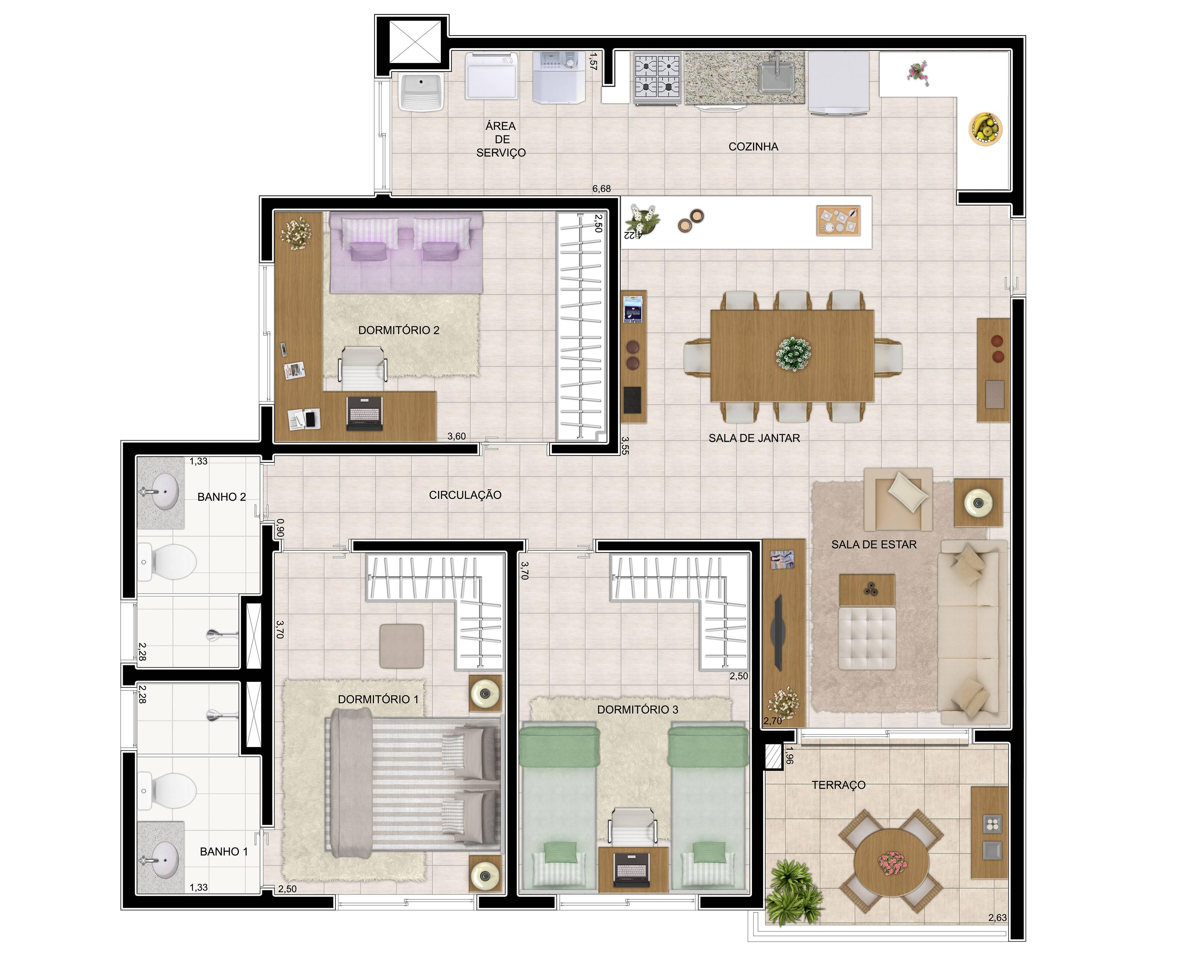 84 m² - 3 dorms