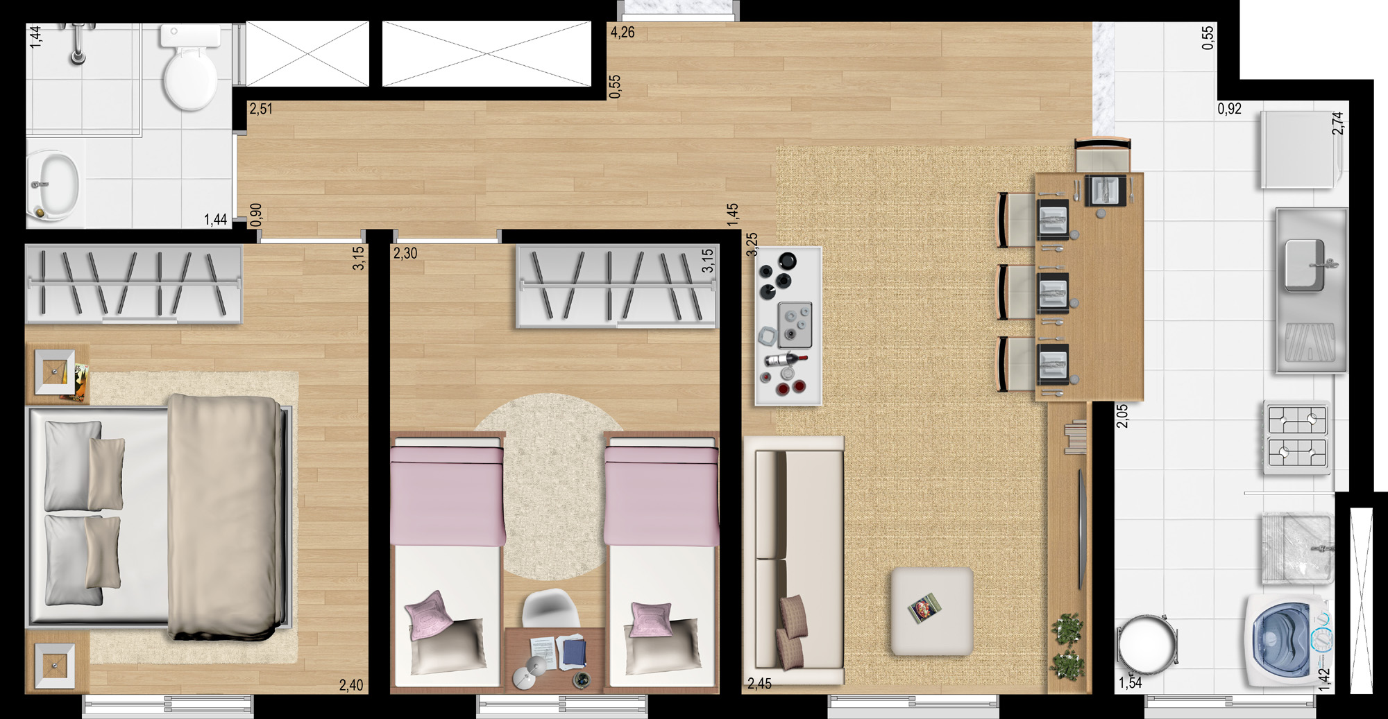 45,18m² 2 dorms