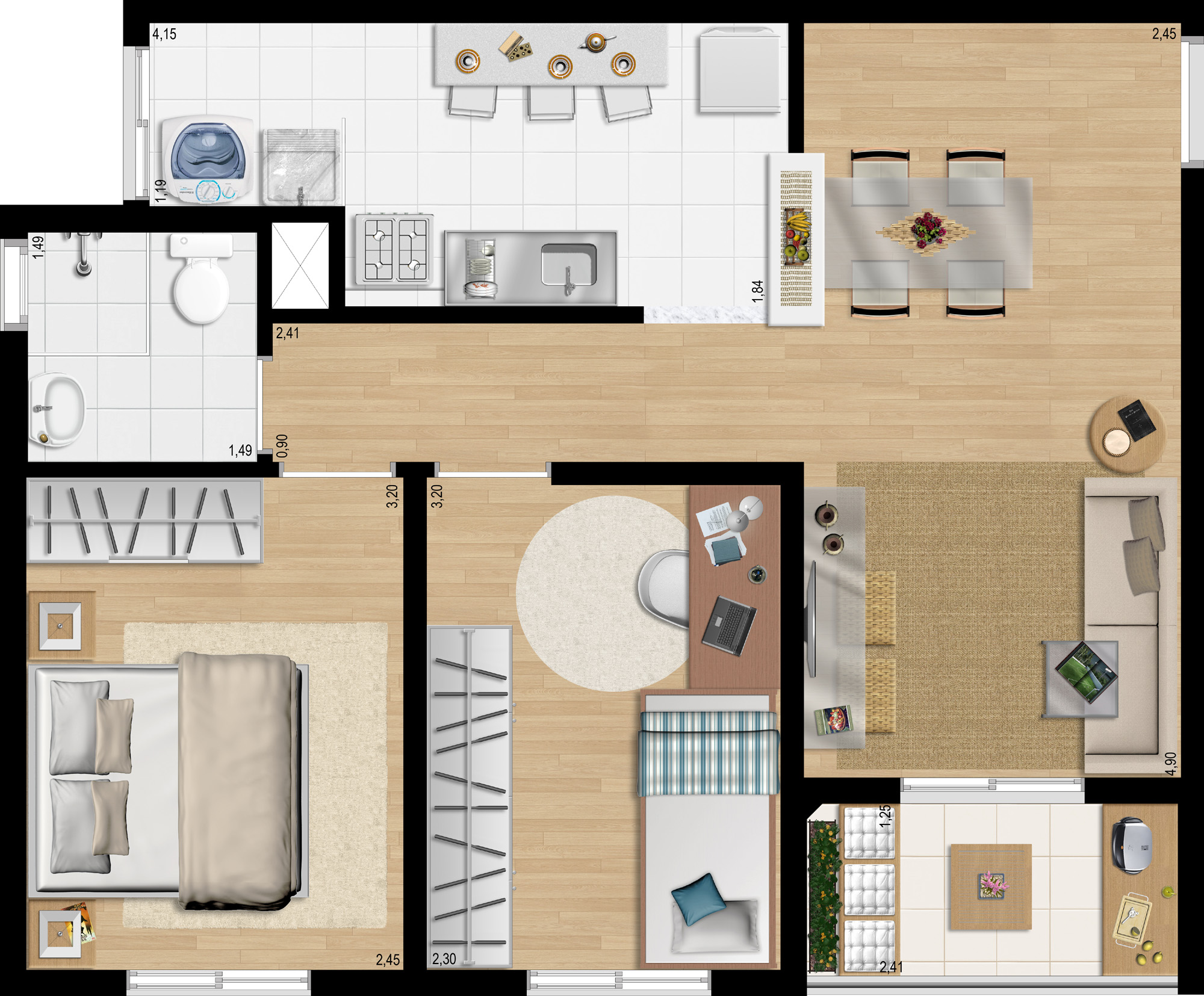 48,28m² 2 dorms