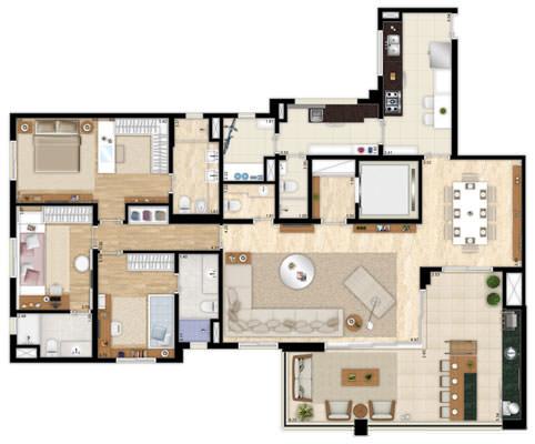 Planta 182 m² - living ampliado