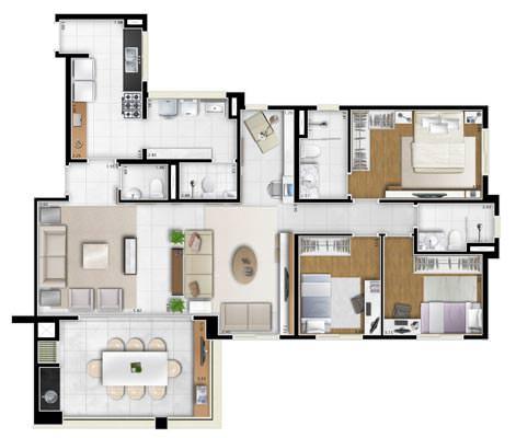 132m² 3 dorms - living ampliado