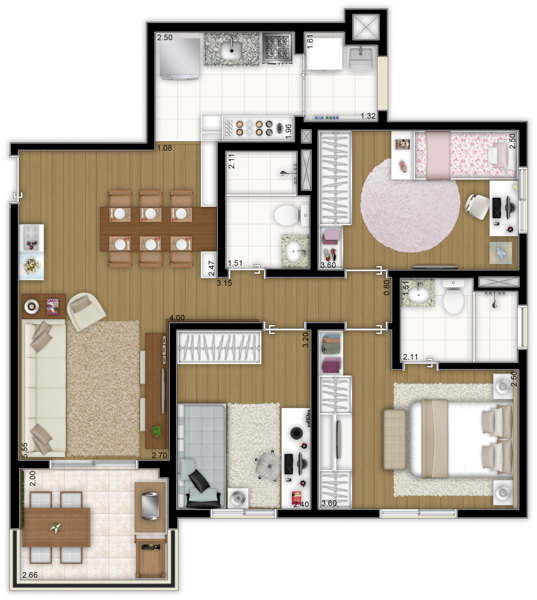 76m² - 3 dorms