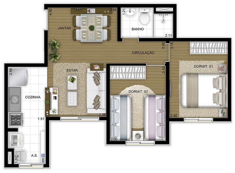 43,78m² 2 dorms