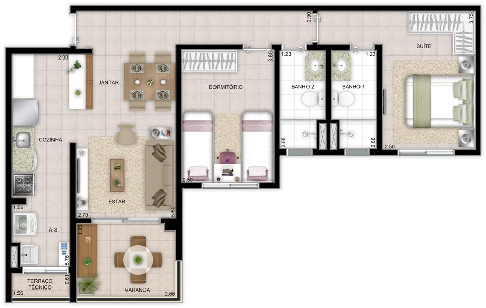 70 m² - 2 dorms