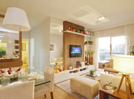 66,84m² - Sala de estar - Flex Jundiaí - Tecnisa