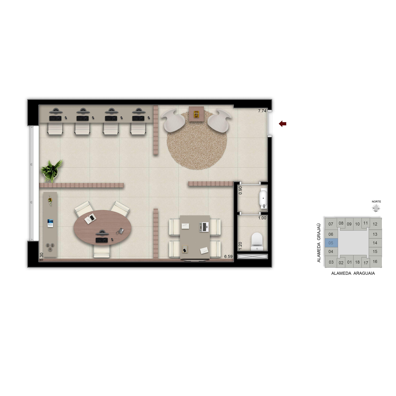 45 m² - Sala financeira