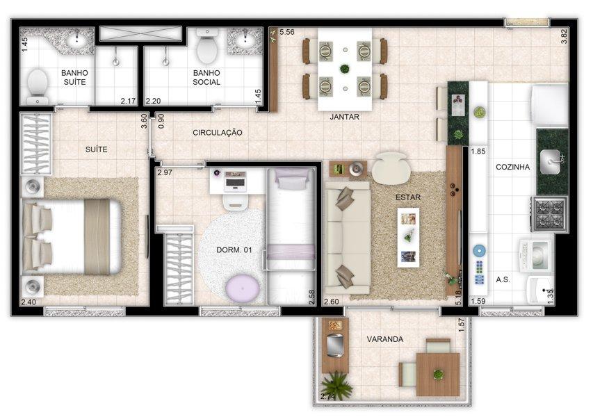 61 m² - 2 quartos