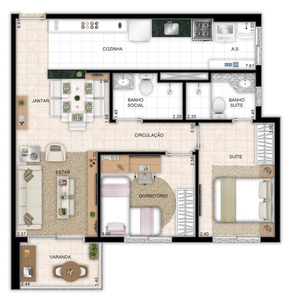 63 m² - 2 quartos