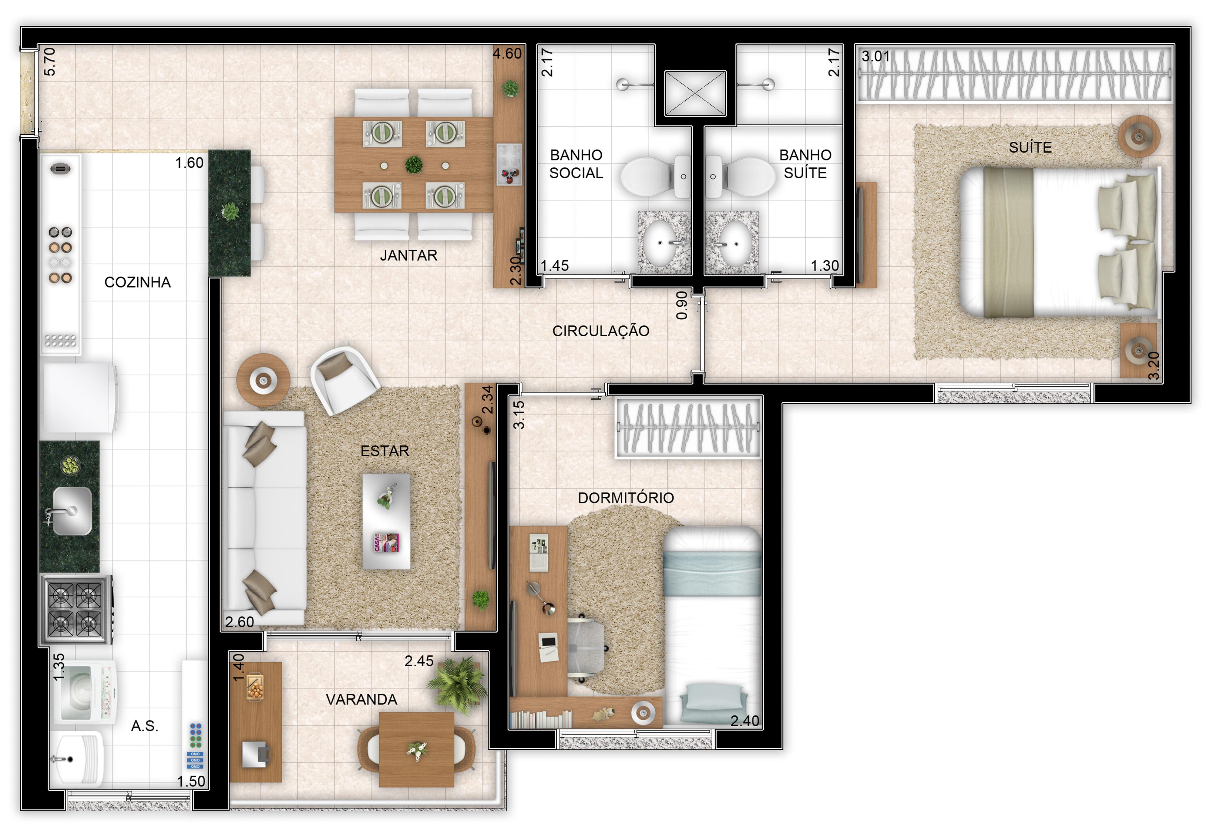 64m² - 2 quartos