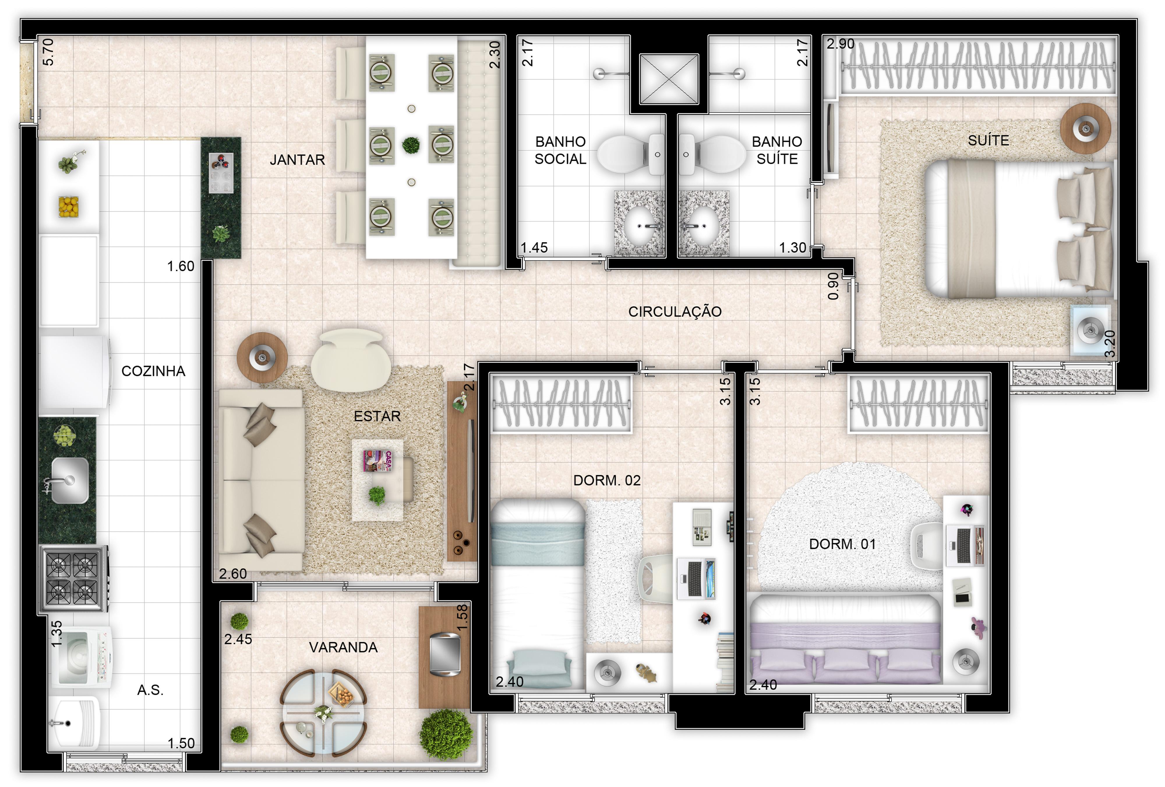 72m² - 3 quartos