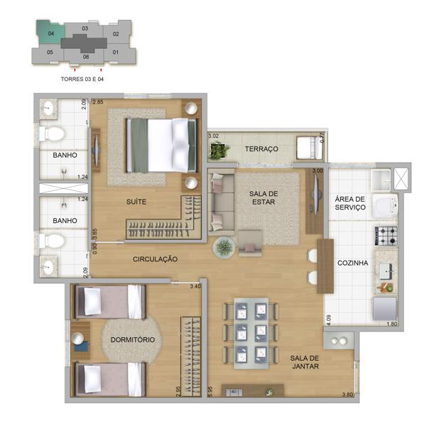 64,89m² - 2 dorms
