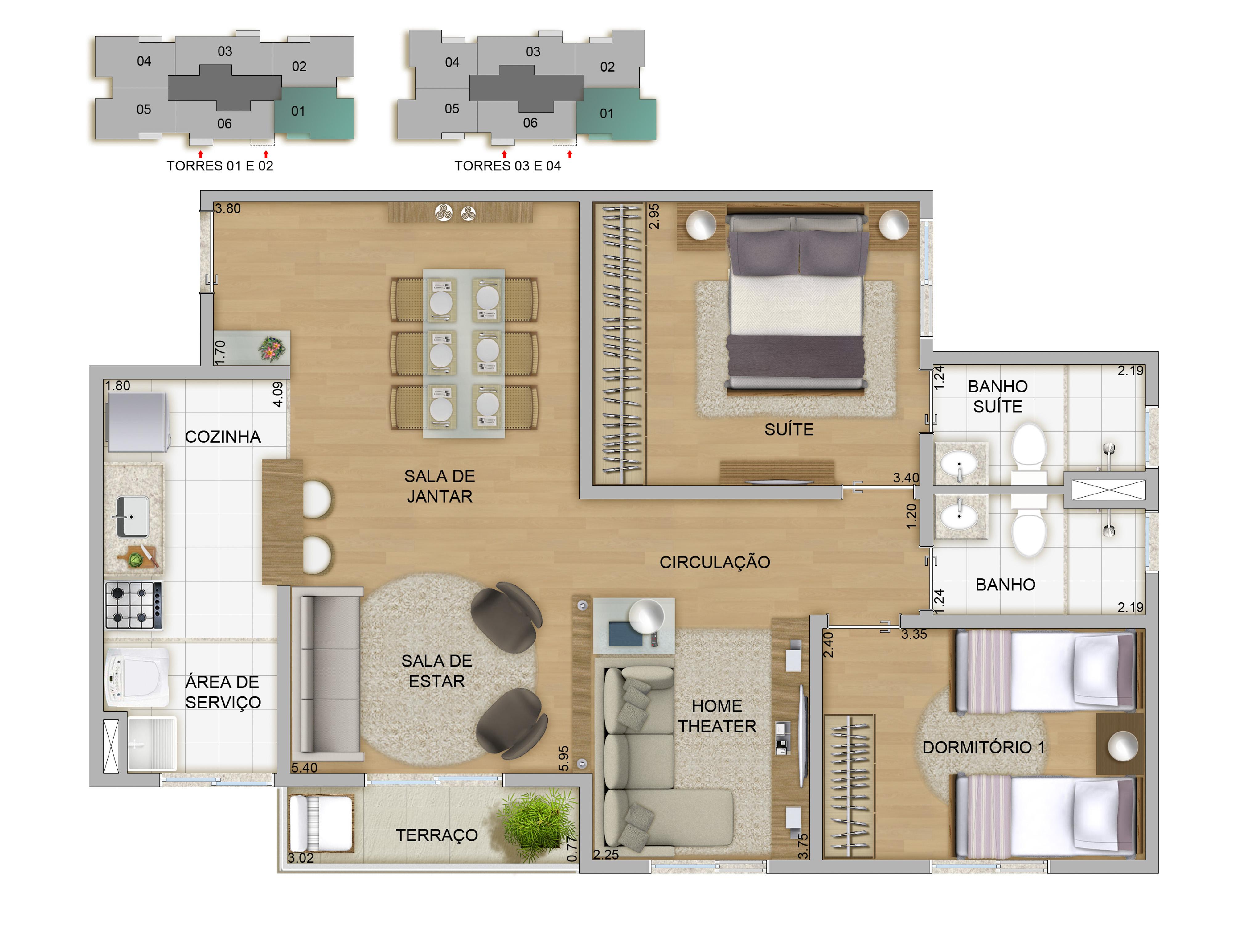 70,57m² - 2 dorms living ampliado