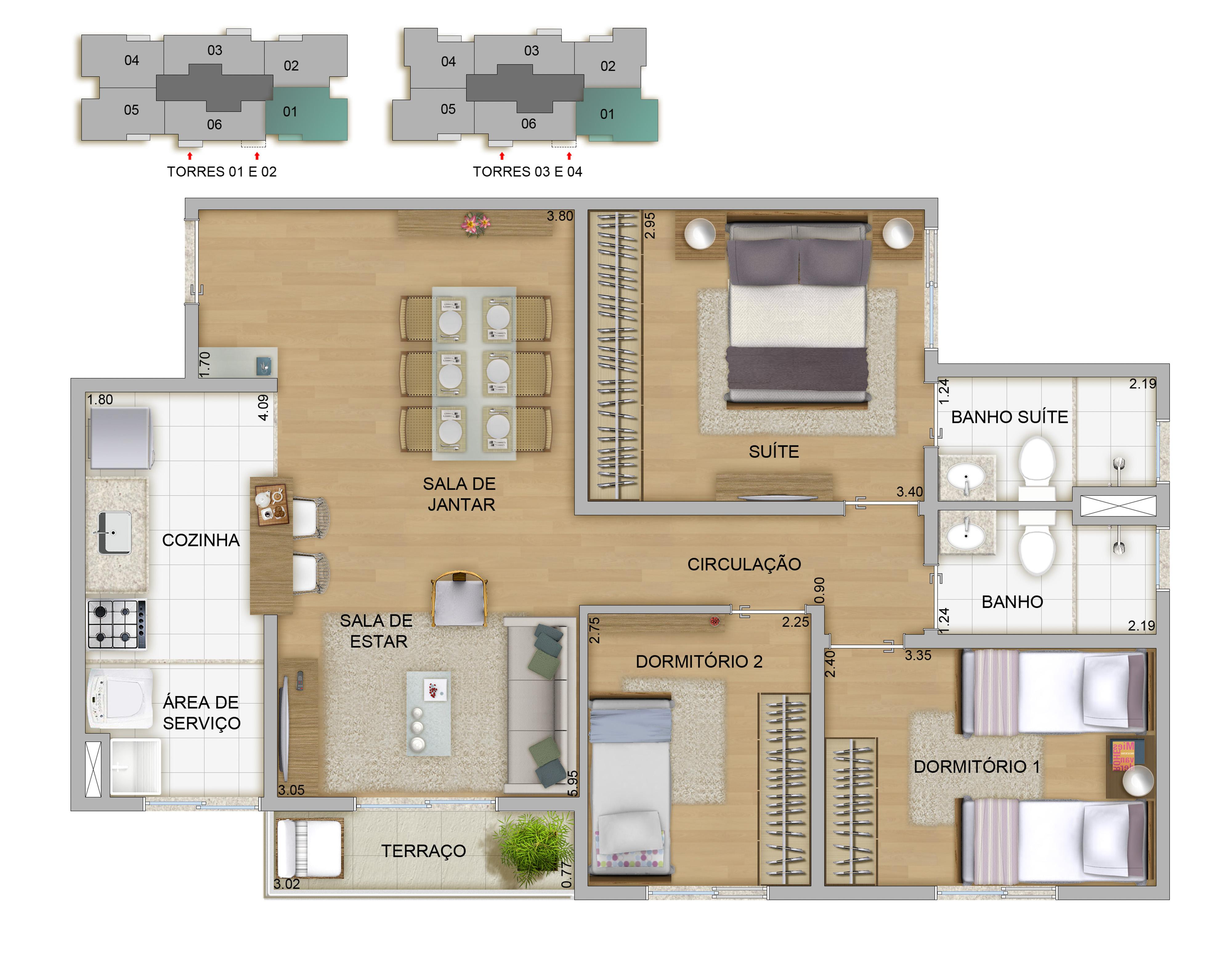 70,57m² - 3 dorms