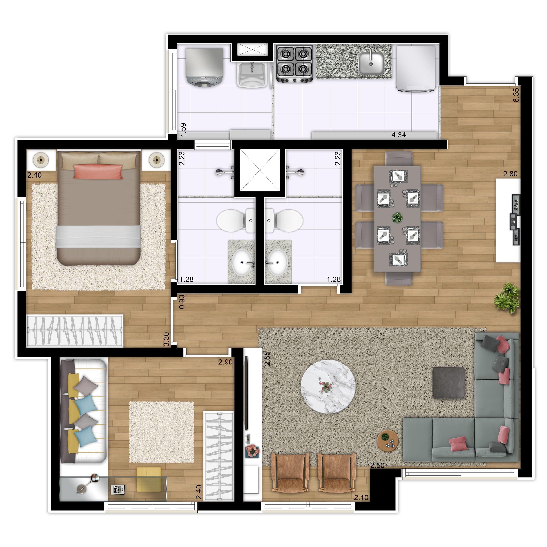59 m² - 2 dorms | 1 suíte - Living Estendido